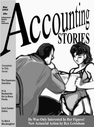 The fictional cover of Accounting Stories, March 1953
